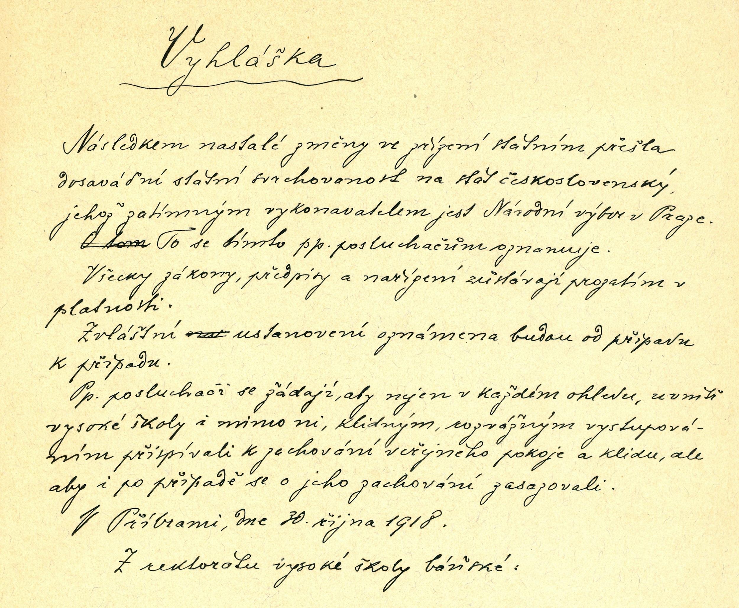 Vyhláška rektorátu pro posluchače VŠB