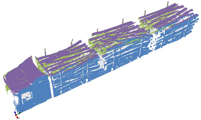 Skenování kamiónů naložených dřevem
