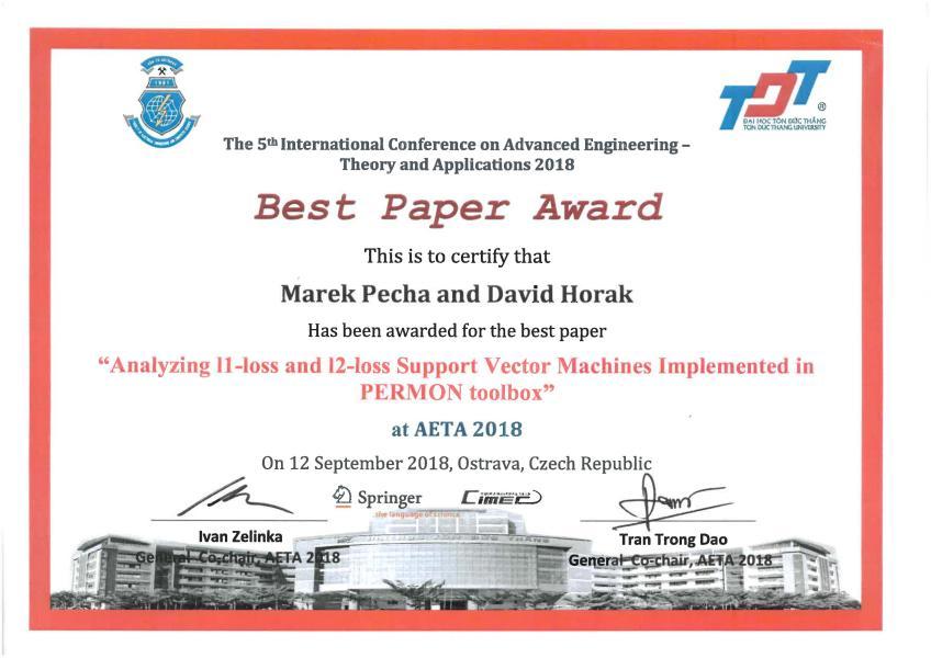 "Konference AETA - cena ""Best Paper Award"""
