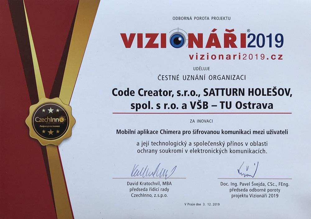 Katedra informatiky a katedra telekomunikací FEI VŠB-TUO získaly čestné ocenění Vizionáři 2019