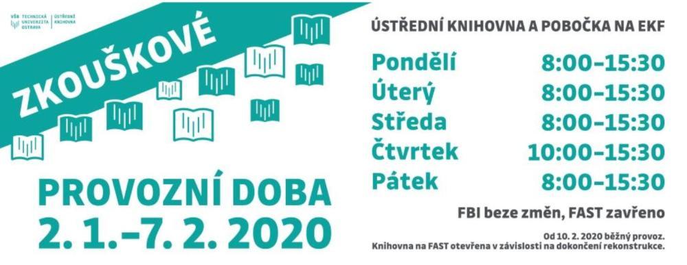 Změna provozní doby knihovny ve zkouškovém období od 2.1.do 7.2.2020