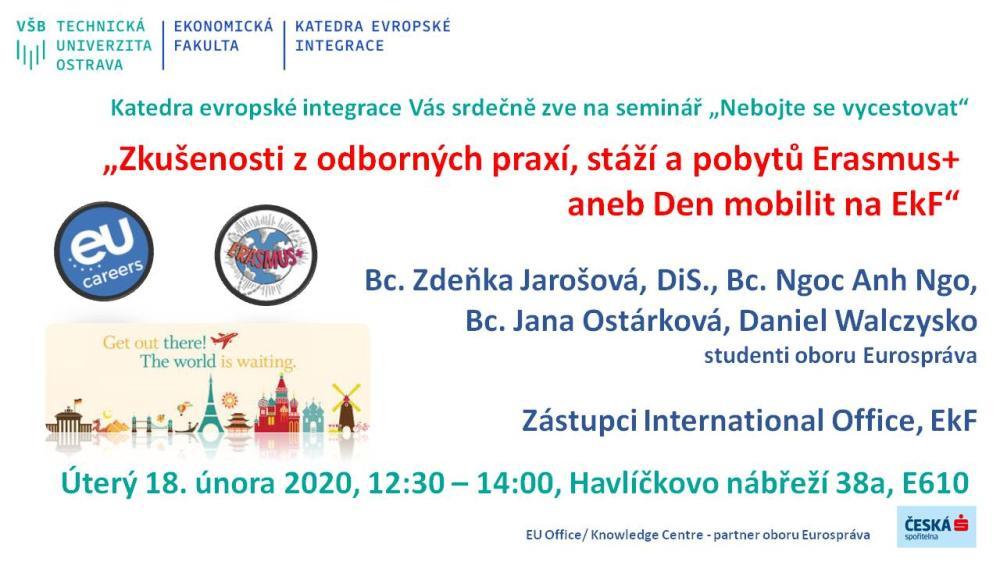 Pozvánka na seminář: Nebojte se vycestovat aneb praktické zkušenosti ze zahraničních studijních pobytů
