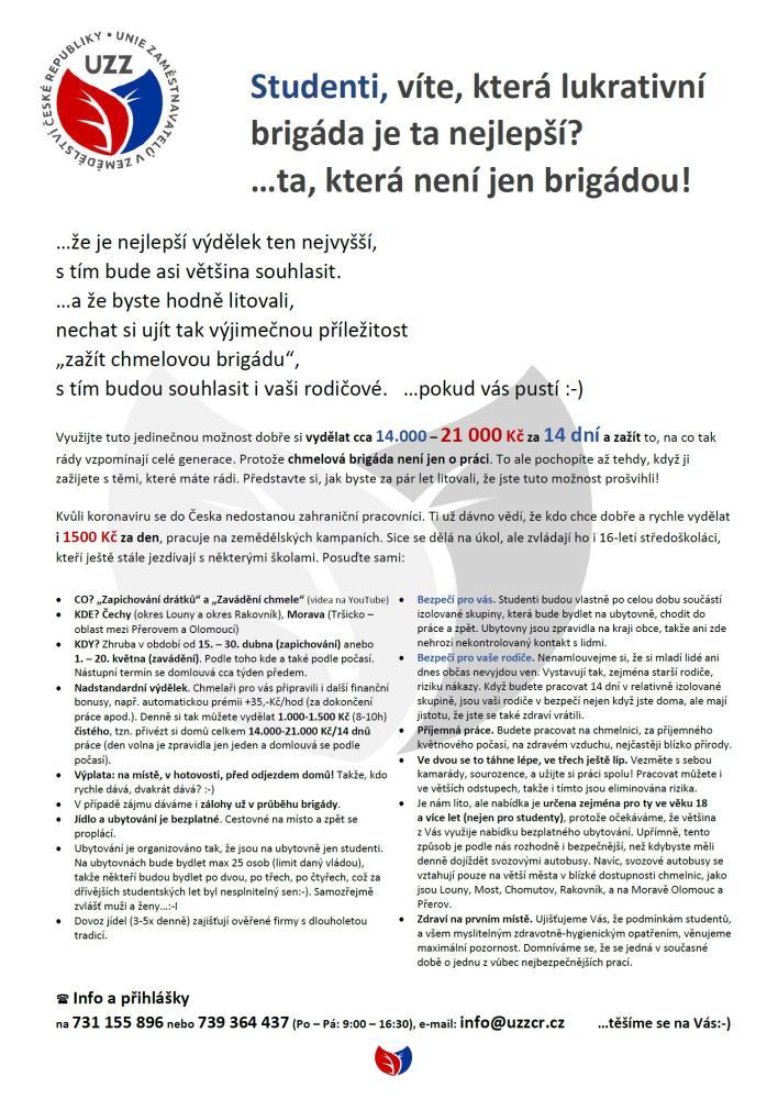 Chmelová brigáda (Unie zaměstnavatelů v zemědělství ČR)