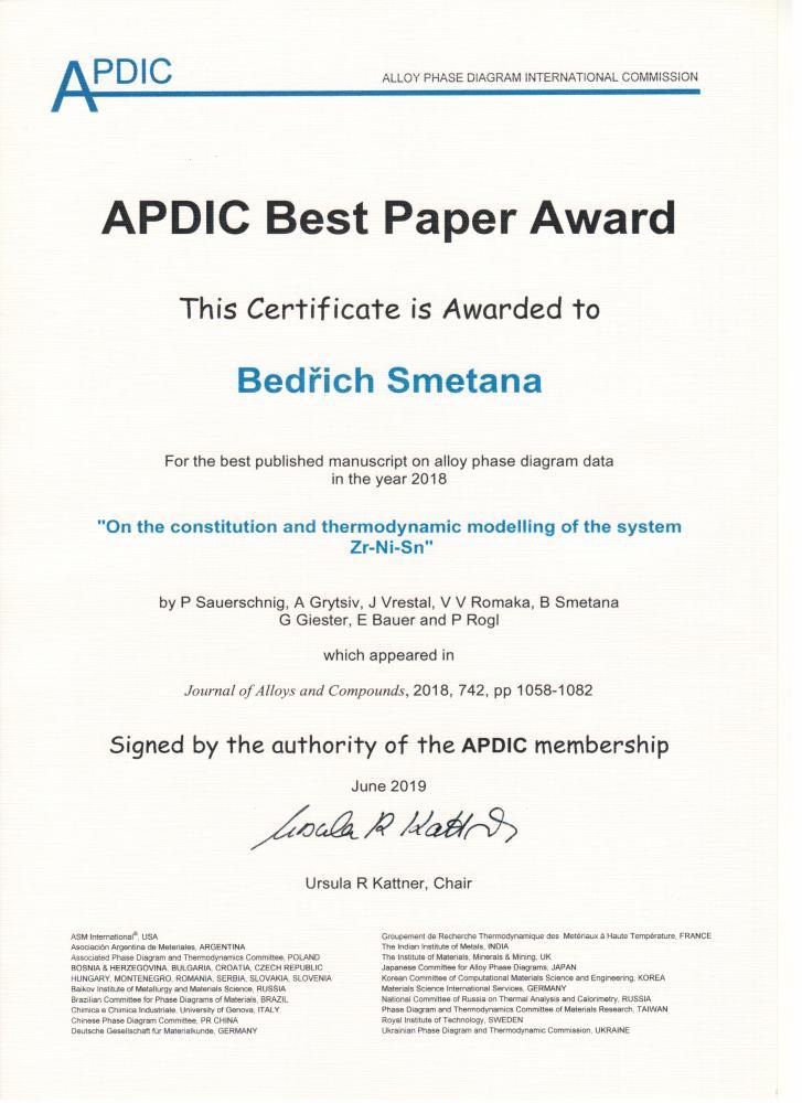 Významné mezinárodní ocenění za publikování příspěvku