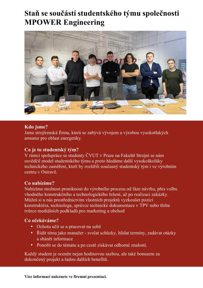 Studentský tým (MPOWER Engineering a.s.)