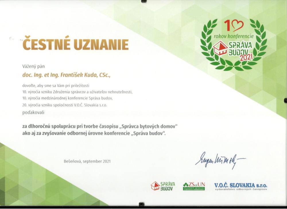 Prorektor František Kuda získal na slovenské konferenci čestné uznání
