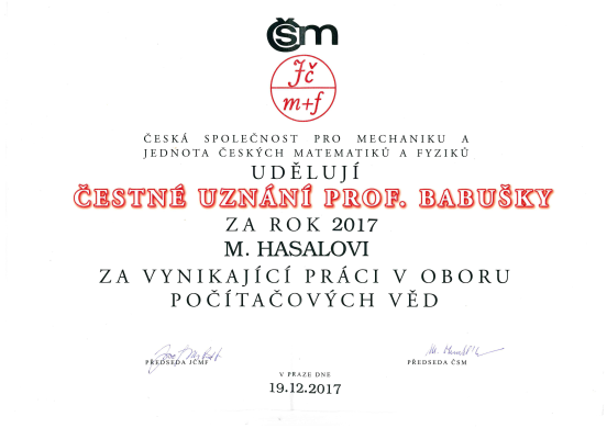 Čestné uznání prof. Babušky 2017