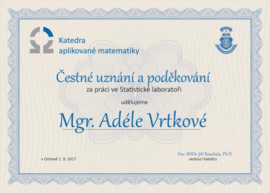 Čestné uznání a poděkování katedry aplikované matematiky