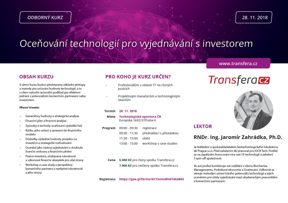 Odborný kurz: Oceňování technologií pro vyjednávání s investorem