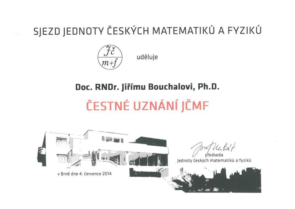 Čestné uznání JČMF