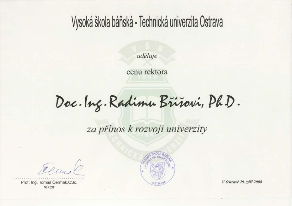 Ocenění rektora