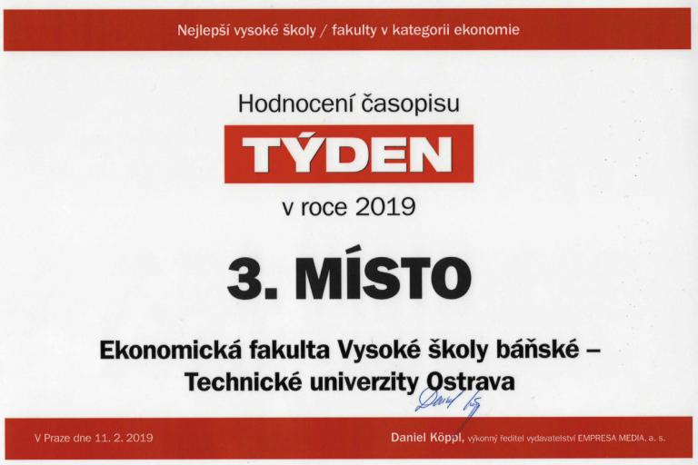 Ekonomická fakulta VŠB-TUO v žebříčku TOP 3 NEJ ekonomických fakult v ČR