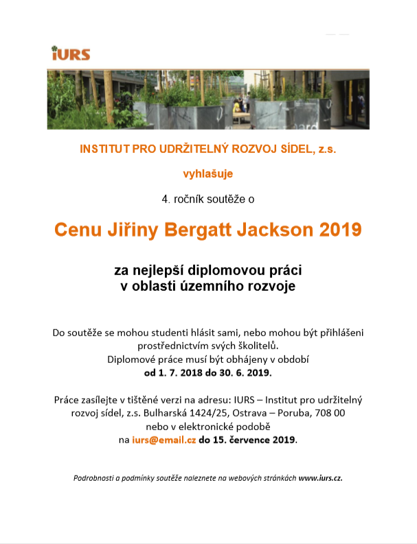 Cena Jiřiny Bergatt Jackson 2019