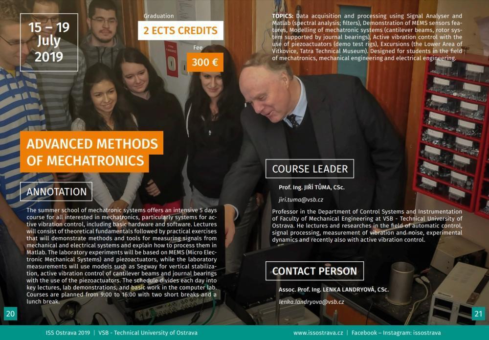 Mezinárodní letní škola - Advanced Methods of Mechatronics