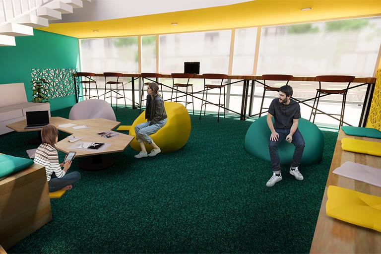 Student Relax Zone: Cílem bylo vytvořit příjemný odpočinkový prostor pro studenty