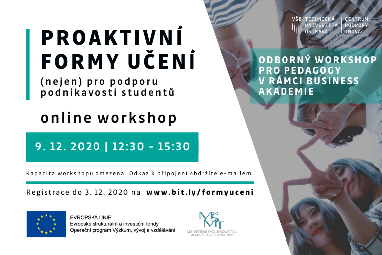 Proaktivní formy učení (nejen) pro podporu podnikavosti studentů |  Workshop