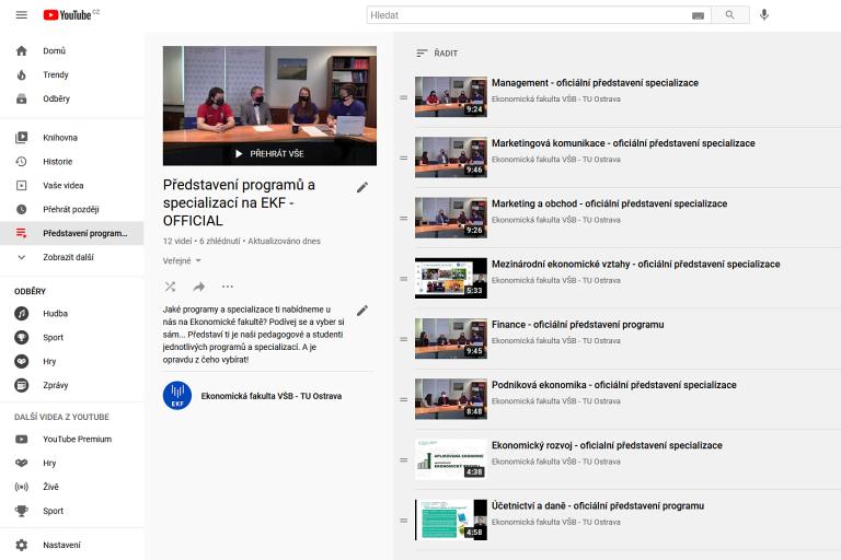 Představení studijních programů a specializací EKF na YOUTUBE