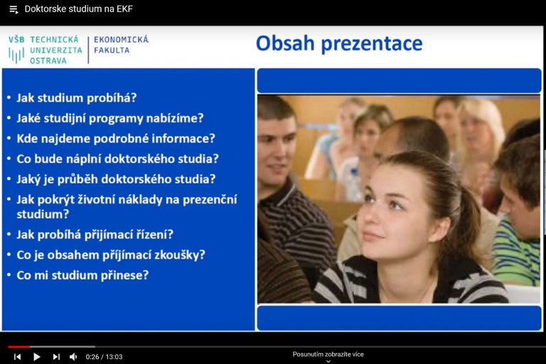 Presentation of doctoral study programs - YOUTUBE